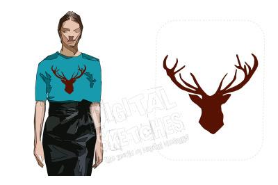 Deer Head Machine Embroidery Design Antlers 7 Sizes