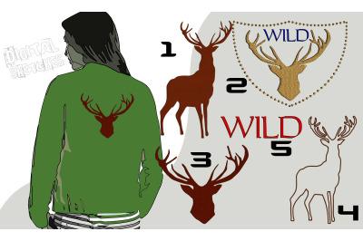 Deer Machine Embroidery Design Set Wild Forest Animals Frame Bundle