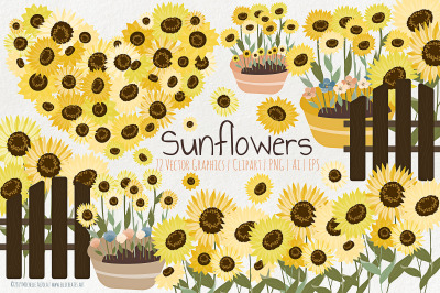 Sunflowers - Flower Vector Graphics and Clipart