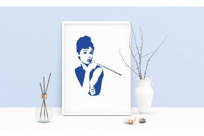 Audrey Hepburn Portrait Printable Art, Wall Art, .PDF, Typography, Ho