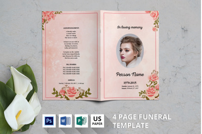 Rosegold funeral program template