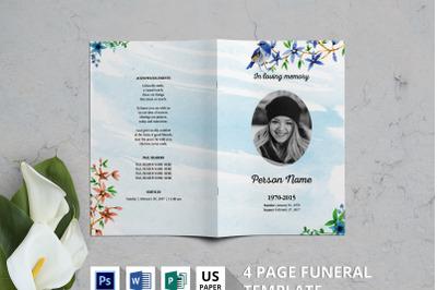 Nature watercolor funeral program template