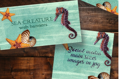 6  web banners on ocean theme. Web sized image set for social media.