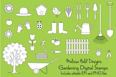 Gardening Digital Stamps Clipart