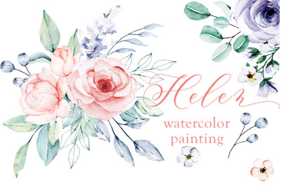 Watercolor flower set Helen. Floral illustrations hand painting.