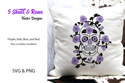 5 Skull & Roses Vector Designs- SVG & PNG