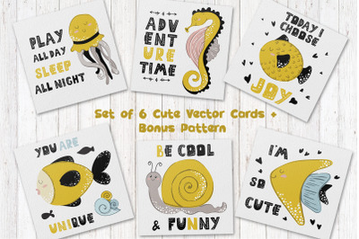 Cartoon Sea Animals - vector cards