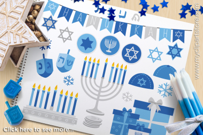 Hanukkah (Silver) / Menorah / Dreidel / Star of David Vector Clipart