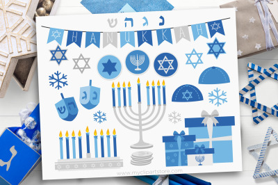 Hanukkah Clipart, Silver Menorah, Vector, Sublimation, SVG