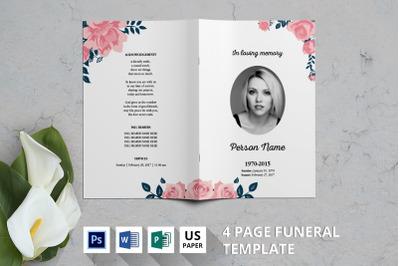 Rose watercolor funeral program template