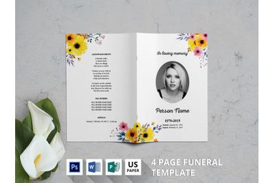 Yellow flower funeral program template