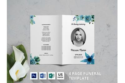 Blue watercolor flower funeral program template