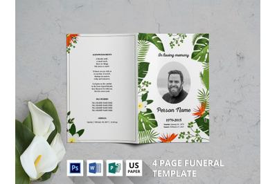 Natur watercolor funeral program template