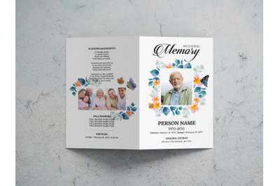 Watercolor flower funeral program template