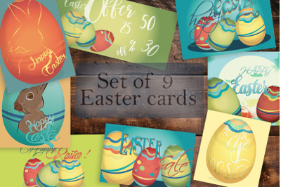 Set of 9 Easter cards. Happy Easter, Easter Sale, Easter Offers banner
