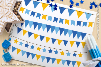 Hanukkah (Gold) Bunting / Banner Flags Vector Clipart
