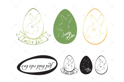 3 Easter bunny color and black svgs and cliparts set