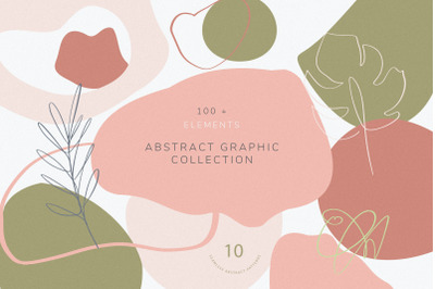 Collection of abstract shapes, lines and florals