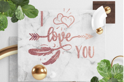 Gold rose color I Love You Quote