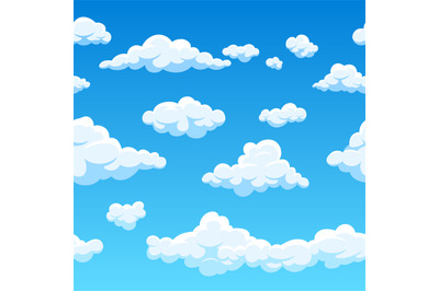 Cloud seamless vector background. Endless cartoon cloudscape