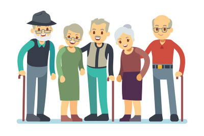 Group of old people cartoon characters. Happy elderly friends vector i