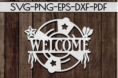 Welcome Sign Papercut Template, Beach House Decor, SVG, DXF