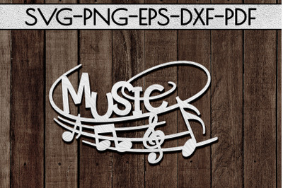 Music Sign Papercut Template, Treble Clef, Musical SVG, DXF