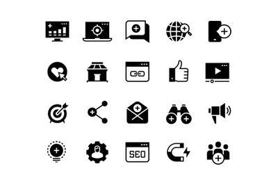 Inbound marketing black icons. Lead social media, ads campaign, web si