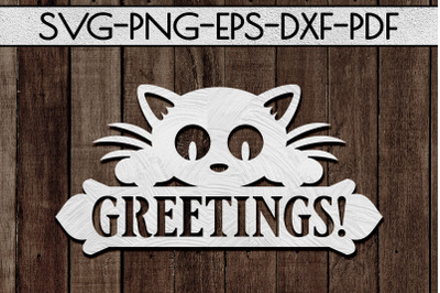 Greetings Sign Papercut Template, Cat House Decor, SVG, DXF