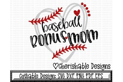 Baseball Bonus Mom Heart Cutting File
