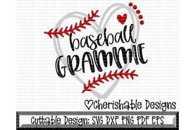 Baseball Grammie Heart Cut File