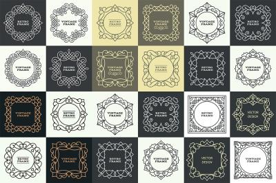 24 vector monogram frames