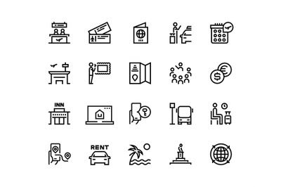 Tourism line icons. Travel holiday resort airplane vacation ticket tou