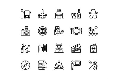 Travel line icons. Vacation plane tourism summer airplane luggage fore