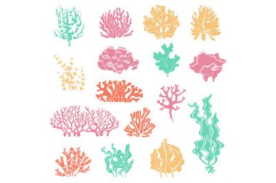 Seaweed and coral silhouettes. Ocean reef corals, underwater marine pl