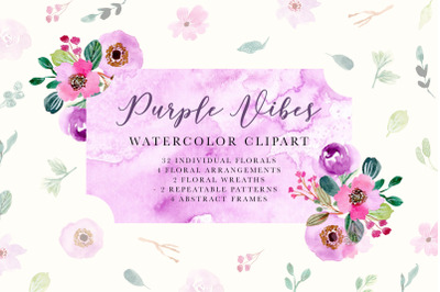 Purple Vibes - Watercolor Floral Clipart