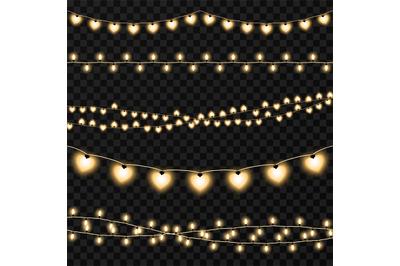 Set of garlands on a vector transparent background