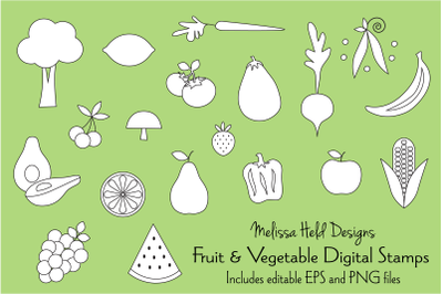 Fruits and Vegetables Digital Stamps Clipart
