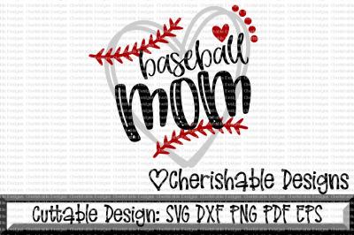 Baseball Mom Heart Cutting File