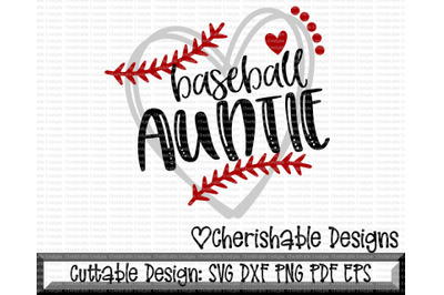 Baseball Auntie Heart Cutting File