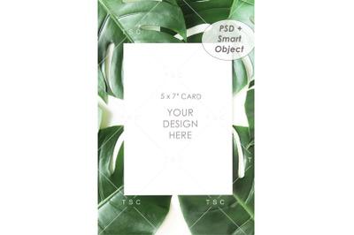 "Portrait-mode 5"" x 7"" Card Mockup / Invitation Card"