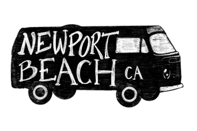 Newport Beach CA Bus Label