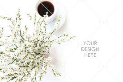 White Flowers and Coffee Stock Photo / Background Image