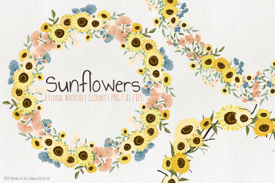 Sunflowers - Floral Wreaths Graphics and Clipart