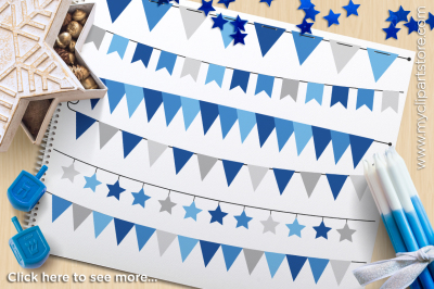 Hanukkah (Silver) Bunting Banner Flags Vector Clipart