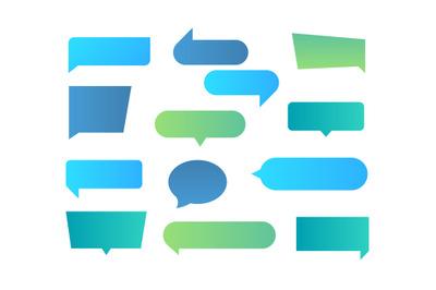 Thought shapes. Text chat speech rectangular bubbles&2C; conversation tal