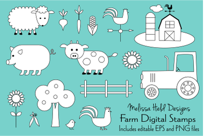 Farm Animals Digital Stamps Clipart