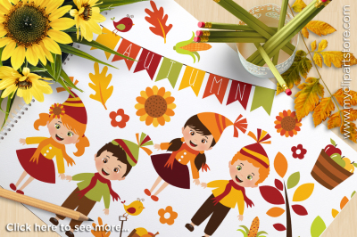 Fall / Autumn / Happy Harvest Kids Vector Clipart