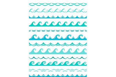Sea wave borders. Seamless ocean storm waves wavy surface blue water s