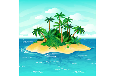 Ocean island cartoon. Palm trees sea uninhabited islands sky sand beac
